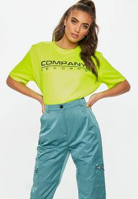 Missguided Neon Yellow Company Records T Shirt