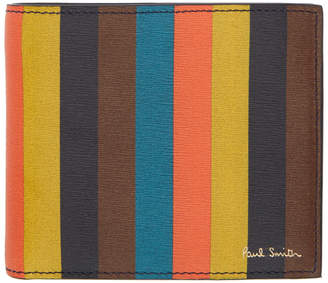 Paul Smith Black and Multicolor Stripe Bifold Wallet