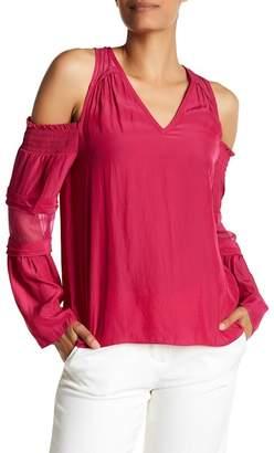 Ramy Brook Faretta Cold Shoulder Bell Sleeve Silk Combo Blouse