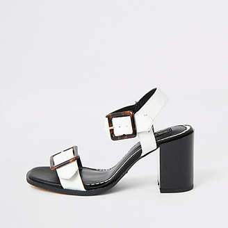 River Island White buckle strap wide fit heel sandal
