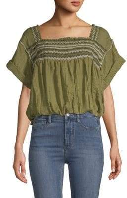 Free People Skies Squareneck Woven Blouse