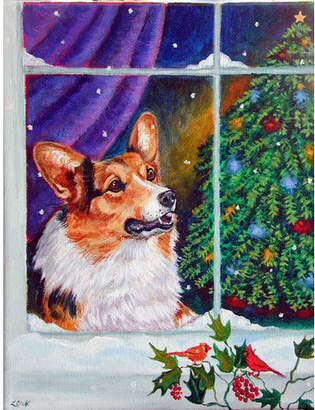 Corgi Caroline's Treasures Christmas Window Vertical Flag