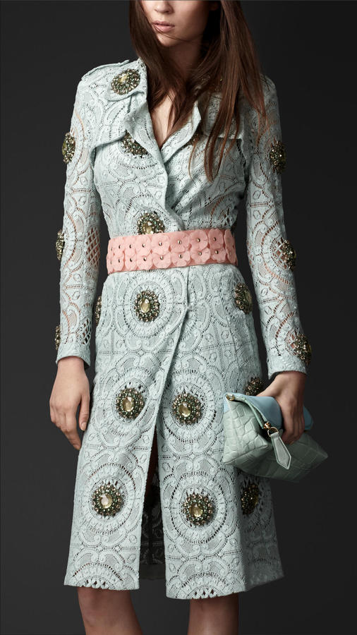 Burberry Gem-Embellished Lace Trench Coat