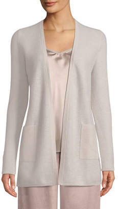 Neiman Marcus Cashmere Waffle-Knit Open-Front Cardigan