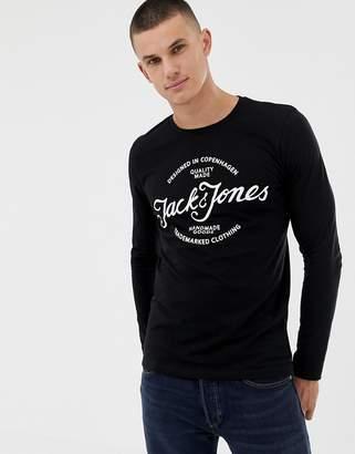 Jack and Jones Print Logo Long Sleeve Top