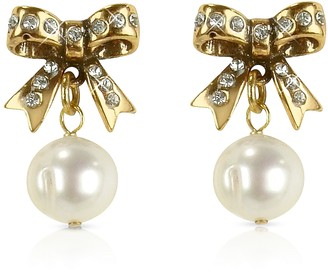 Alcozer & J Little Bow Earrings w/Pearls