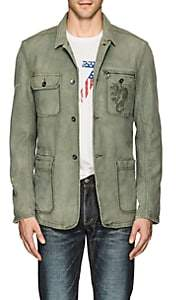 John Varvatos Men's Embroidered Cotton Work Jacket - Olive