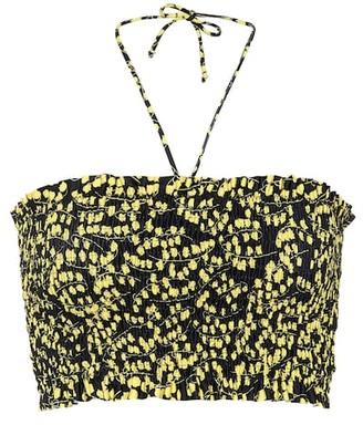 Ganni Printed bandeau bikini top