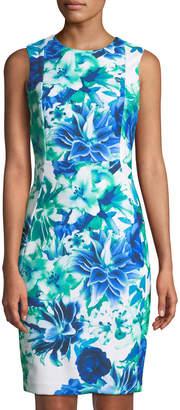 Iconic American Designer Floral-Print Sleeveless Shift Dress