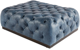 Massoud Furniture Demi Cocktail Ottoman - Ocean Leather