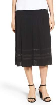 Ming Wang Pleated Midi Skirt