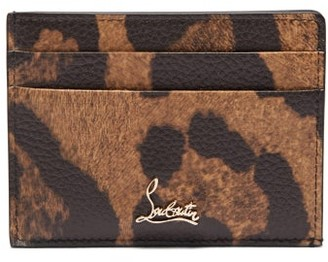 Christian Louboutin Kios Leopard Print Leather Cardholder - Womens - Leopard
