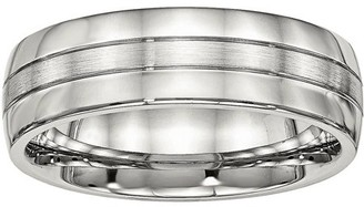 Primal Steel Primal Steel Stainless Steel Brushed and Polished Grooved 6.50mm Band
