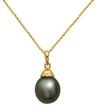 TARA Pearls 14K Yellow Gold 9-10mm Black Tahitian Pearl Pendant Necklace