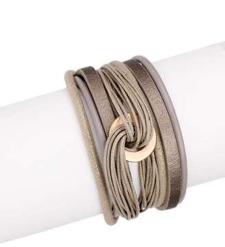 Saachi Taupe Knot Wrap Leather Bracelet