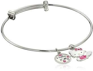 "Hello Kitty Stainless Steel Angel Charm Bangle Bracelet 7.25"""