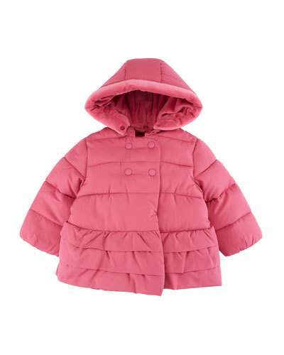 Mayoral Ruffle-Hem Hooded Puffer Coat, Size 4-12 Months