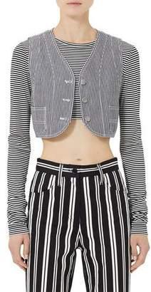 Marc Jacobs Bobby-Striped Crosshatch Crop Vest