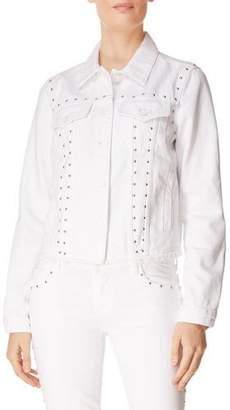 J Brand Slim Raw-Edge Studded Denim Jacket