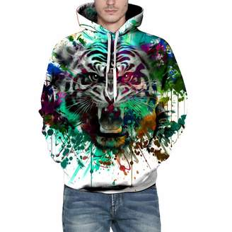 Mens Hoodies Hoodies for Men, Clearance Sale! Pervobs Men's Autumn Winter Fashion 3D Print Long Sleeve Hooded Sweatershirt Pullover