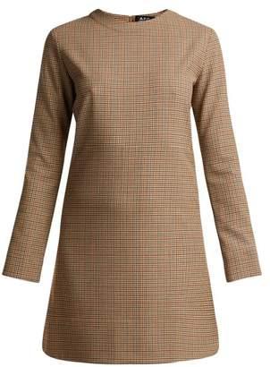 A.P.C. Maddy Checked Mini Dress - Womens - Beige Multi