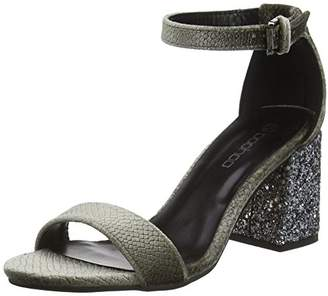 boohoo Women''s Two Part Heel Open Toe Sandals, (Grey Snake/Glitter), 41 EU