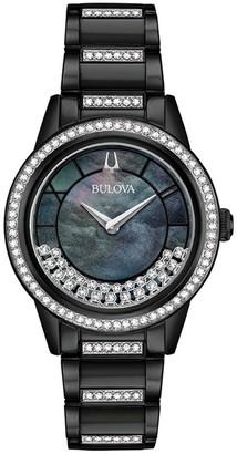 Bulova Women's Crystal Black Stainless BraceletWatch