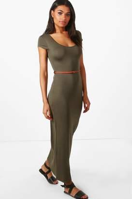 boohoo Lottie Cap Sleeve Belted Maxi Dress