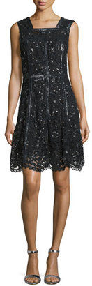 Parker Sleeveless Sequined Lace A-Line Dress, Black $495 thestylecure.com