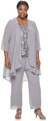 Le Bos Women's Plus Size Embroidered Lace High Low Duster 3-Piece Pants Set