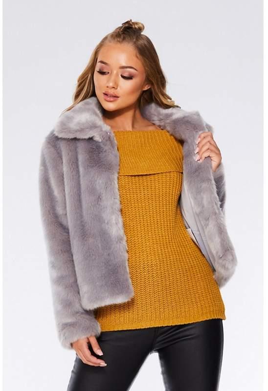 Grey Short Faux Fur Collar Jacket