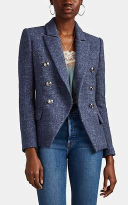 L'Agence Women's Kenzie Tweed Double-Breasted Blazer - Blue