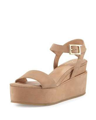 Delman Angie Nubuck Wedge Sandal, Sand Dune $111 thestylecure.com