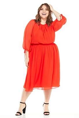 Maggy London Plus Size Women's Gauze Chiffon Smocked Waist Dress