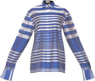 Rahul Mishra Marine Striped Cotton Blend Collared Shirt