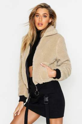 boohoo Teddy Faux Fur Trucker Jacket