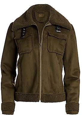 Mother Women's Four Corners Faux Shearling Bomber Jacket
