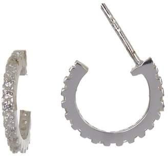 Argentovivo Sterling Silver Pave Crystal 12mm Huggie Hoop Earrings