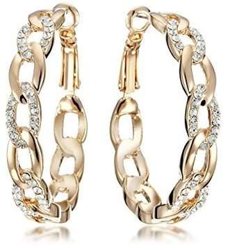 Gemini Women's Jewelry 18K Gold Filled Zirconia Big Round Hoop Pierced Earring for Women Gifts Gm039Rg, Size 4cm, Color: