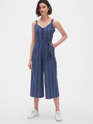Gap Button-Front Wide-Leg Crop Jumpsuit in Linen-Cotton