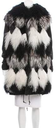 Mr & Mrs Italy Patchwork Fur-Trimmed Parka Coat