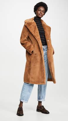 AVEC LES FILLES Single Breasted Faux Fur Coat