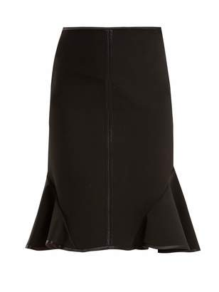 Ruffle-trimmed stretch-crepe skirt