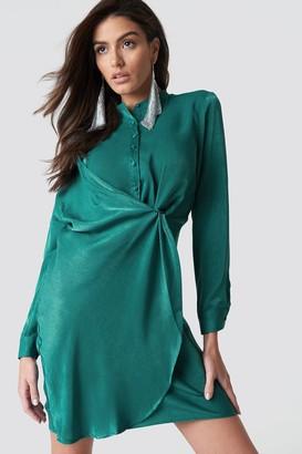 Hannalicious X Na Kd Draped Shirt Dress Petrol