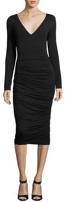 Bailey 44 Go The Distance Ruched Midi Dress, Black $198 thestylecure.com