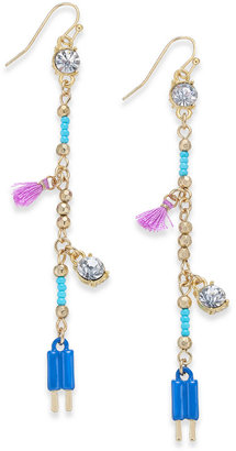 Inc International Concepts Gold-Tone Multi-Charm Linear Drop Earrings, Only at Macy's $22.50 thestylecure.com