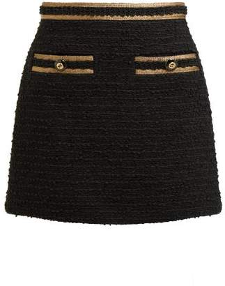 Gucci Cotton Blend Boucle Tweed Mini Skirt - Womens - Black Gold