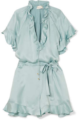 Zimmermann Ruffle-trimmed Silk Playsuit - Turquoise