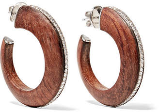 Fred Leighton - Collection 18-karat White Gold, Palisander Wood And Diamond Hoop Earrings