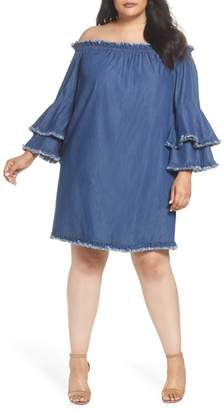 ECI Bell Sleeve Off the Shoulder Denim Shift Dress